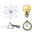 atom and prism light bulb and compass engraved vector image vector image