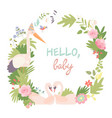 baby shower floral wreath vector image