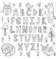 black and white alphabet with forest animals vector image