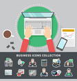 business icons collection background vector image vector image