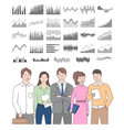business team and visualized information diagrams vector image vector image