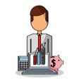 businessman laptop chart piggy and calculator vector image