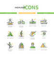 camping and tourism - modern line design style vector image