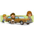 cartoon boy and girl character with long retro car vector image vector image