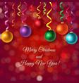 christmas postcard with bokeh and xmas balls vector image vector image