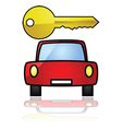 compact car with a key vector image vector image