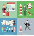 Contraband border control post and migration vector image vector image