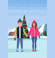 couple skaters standing ice rink decorated vector image vector image