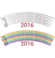 Creative Rainbow Calendar 2016 vector image