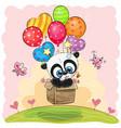 cute cartoon panda with balloons vector image vector image