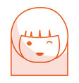 cute little japanese doll head vector image vector image
