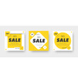 design square white banners for sale with a vector image vector image