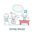 family doctor treats the mother father and child vector image vector image