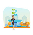 girl in hand holding phone and communicates vector image vector image