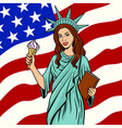 girl in statue of liberty suit pop art vector image vector image