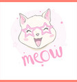 hand drawn a kawaii funny unicorn cat with vector image vector image