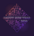 happy new year 2020 thin line colored vector image vector image