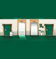 hotel hallway with open and closed elevator doors vector image