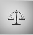 house and dollar symbol on scales icon isolated on vector image
