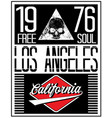 los angeles motorcycle skull typography poster vector image vector image