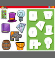matching shapes game with cartoon objects vector image vector image