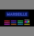 neon name of marseille city vector image vector image