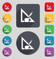 Pencil and ruler icon sign A set of 12 colored vector image