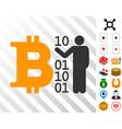 person show digital bitcoin icon with bonus vector image vector image