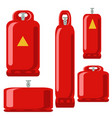 red gas tank set icon in flat propane cylinder vector image vector image