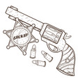 revolver and a sheriff badge wild west outline vector image