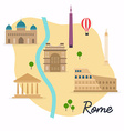 Rome Travel map and landscape of buildings and vector image