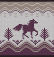 seamless knitting pattern with horse vector image vector image
