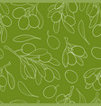 seamless patten sketch outline olive branch with vector image vector image