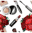 seamless pattern with bouquet roses lipstick vector image