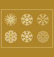 set icons snowflakes with border vector image vector image