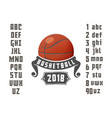 set of basketball - badge logo and font vector image