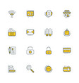 set of flat line business icons vector image vector image