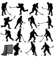 Set of silhouettes of hockey player Isolated on vector image vector image