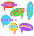 set of six cartoon comic balloon speech vector image vector image