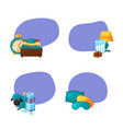 set stickers with cartoon sleep elements vector image vector image