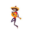 skeleton in mexican traditional costume and hat vector image vector image