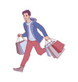 sketch man running with shopping bags vector image vector image