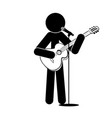 stick man stands plays the guitar sings into a vector image vector image