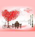 valentines day holiday background with tree with vector image vector image