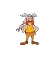 Viking Repairman Standing Spanner Cartoon vector image