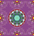 Vintage pattern mandala colored on a purple vector image