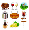 wine and winemaking icons set vector image vector image