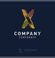 x company logo design with visiting card vector image vector image