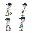 woman soccer player character pose set vector image
