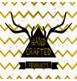 gold chevron pattern triangle product label design vector image